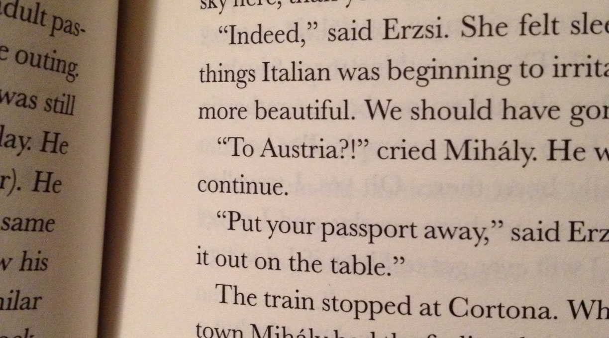 An interrobang (the ultimate punctuational liberty?) in a Hungarian novel from the 1930s.