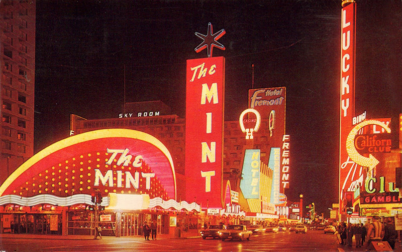 This sign for The Mint casino and hotel, also designed by Betty Willis, was demolished in XXXX.