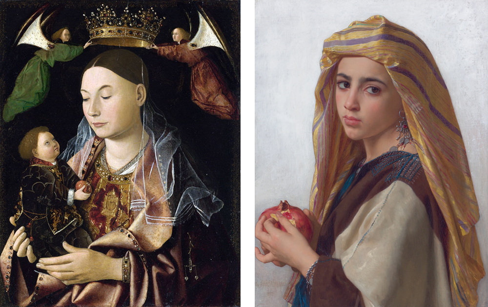 Left: Madonna with Child (Salting Madonna) (1460s) by Antonello da Messina (via Wikimedia Commons). Right: Girl with a Pomegranate (1865) by William Bouguereau (via Wikimedia Commons).