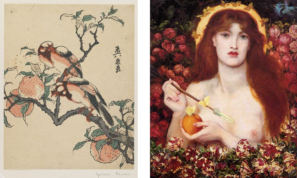 Left: Pomegranates and Birds (1837-1843) by Keisai Eisen, (courtesy of the Brooklyn Museum via Wikimedia Commons). Right: Venus Verticordia (1868) by Dante Gabriel Rossetti (via Wikimedia Commons)