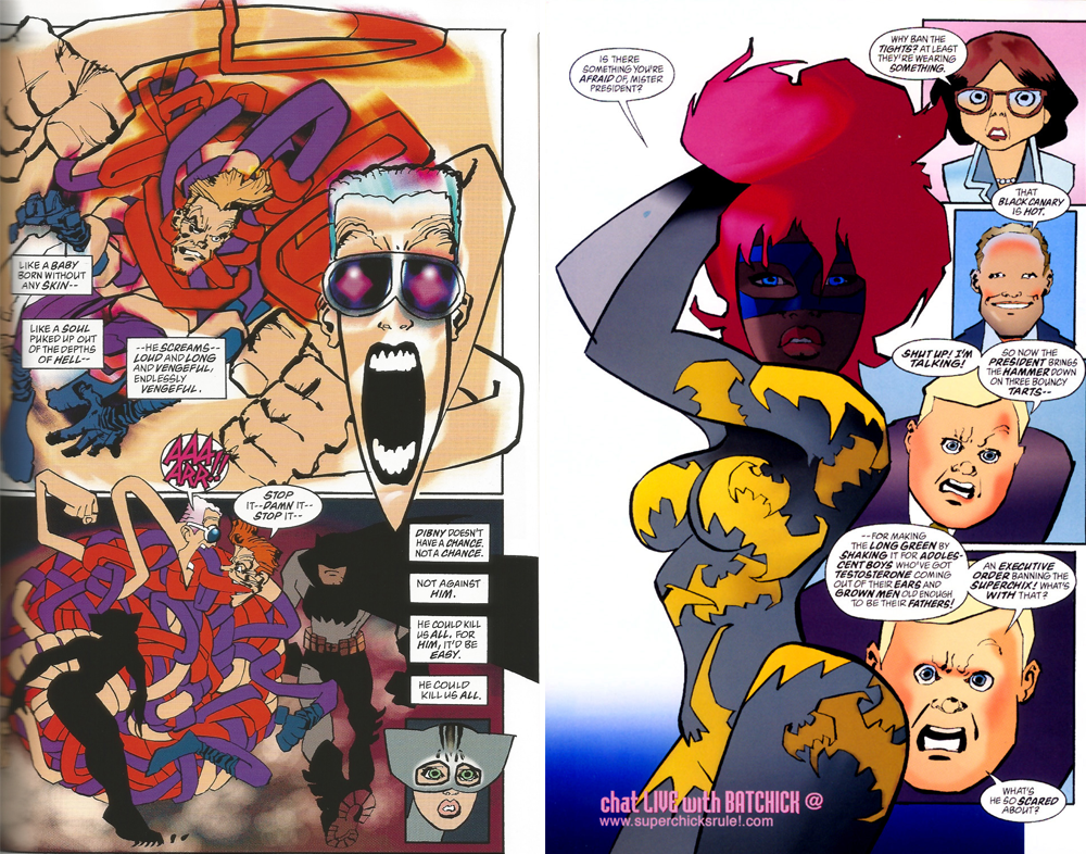 """""""Candy-colored Fauvism"""" in pages from The Dark Knight Strikes Again"""