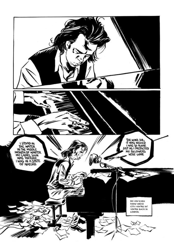 "A panel from the comic, picturing Nick Cave at a piano, singing the lyrics of ""Mercy."""