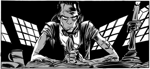 A frame from the comic, picturing Nick Cave sitting at a desk and looking angry.