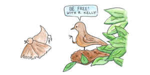 """Mama bird pushing baby bird out of nest, exclaiming, """"Be free! With R. Kelly!"""""""