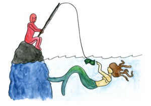 Evil fisherman lures a mermaid with money