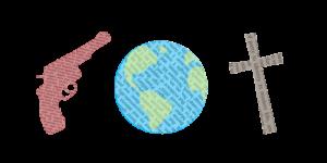 Gun, earth, and a cross