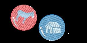 Blue donkey in red bubble, blue house in blue bubble
