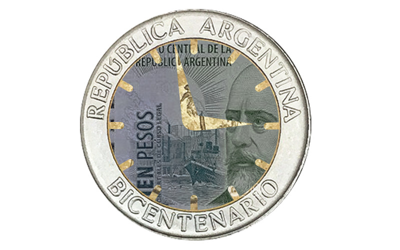 clock about to strike 3, composed of Argentinian cash