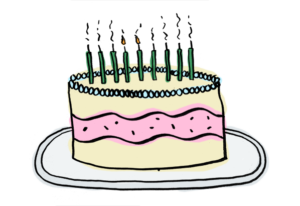 candles blown out on birthday cake