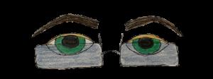 green eyes through frameless glasses